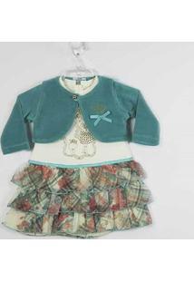 Vestido Fikaben Estampado Com Bolero Manga Longa Plush - Feminino-Estampado