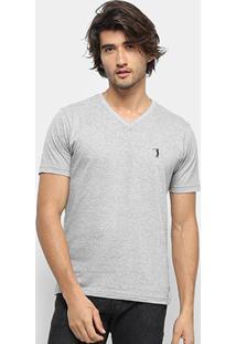 Camiseta Aleatory Gola V Bordado Masculina - Masculino