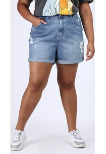 Short Jeans Feminino Plus Size Mom Cintura Alta Destroyed Marmorizado Azul Médio