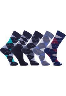 Kit Dorbe Com 5 Pares Meia Escocesa Masculino - Masculino-Azul+Branco