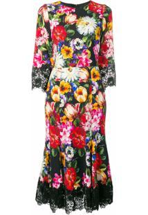 Dolce & Gabbana Vestido Floral De Seda - Preto