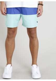 Short Masculino Com Recortes Azul Marinho