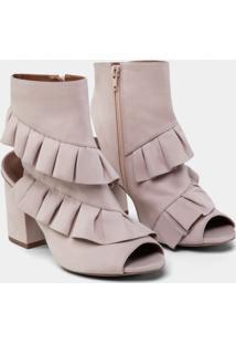Bota Ankle Boot Nobuck Babados Rosa Beleza - Lez A Lez