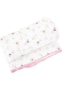 Cobertor Estampado- Branco & Rosa Claro- 70X90Cmpapi