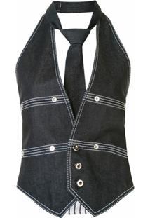 Dice Kayek Colete Jeans Com Detalhe De Pesponto - Azul