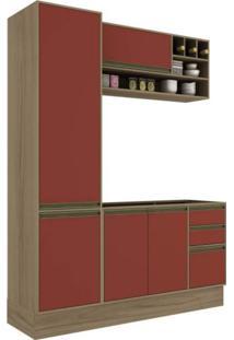 Cozinha Compacta 3 Peças 5 Portas Safira Siena Móveis Avelã Tx/Rubi Tx