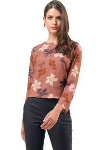 Blusa Mx Fashion Estampada Lisse Marrom