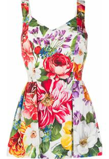 Dolce & Gabbana Vestido Curto Com Estampa Floral - Branco
