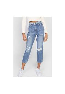 Calça Cropped Jeans Only Reta Faye Azul