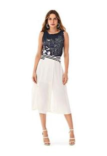 Blusa Decote Redondo Cavada Com Silk Azul