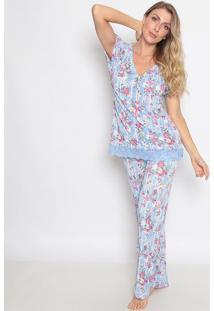 Pijama Floral Com Renda Com Lycraâ®- Azul & Branco- Ffruit De La Passion