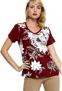 Camiseta Energia Fashion Com Estampa Bordô