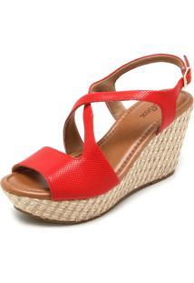 Sandália Couro Usaflex Assimétrica Vermelha