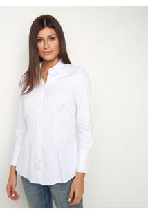 Camisa Le Lis Blanc Priscila Alongada 1 Branco Feminina (Branco, 42)