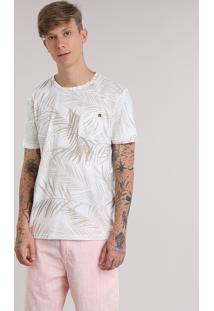 Camiseta Estampada De Folhagem Com Bolso Bege