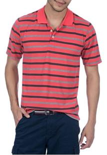 Camisa Polo Masculina Laranja Listrada - M