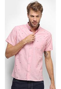 Camisa Manga Curta Colcci Mini Print Bolso Masculina - Masculino-Rosa