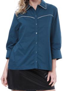 Camisa Energia Fashion Com Frizzo Manga 3/4 Azul