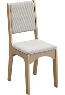 Cadeira 18Mm Assento E Encosto Estofado Carvalho/Geométrico Dalla Costa Bege