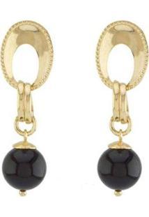 Brinco Barbara Strauss Petro Em Resina Lalique Revestido Em Ouro 18K - Feminino-Preto