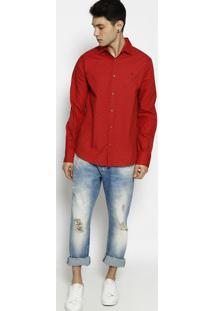 Camisa Slim Fit Geomã©Trica- Vermelha & Preta- Forumforum