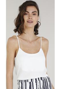 Regata Feminina Básica Com Alça Fina Off White