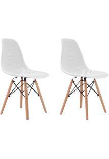 Conjunto Com 2 Cadeiras Eames Com Tramas Eiffel Base Madeira Branco