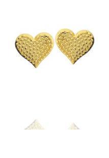 Brinco Coração Bolinhas Dourado