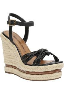 Sandália Plataforma Com Tiras- Preta & Bege Claro- Smorena Rosa