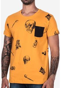 Camiseta Skull Bolso Preto 100626