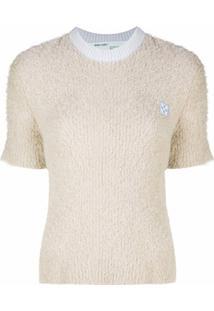 Off-White Blusa De Tricô Com Patch De Logo - Neutro