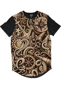 Camiseta Longline Long Beach Náutica Âncora Engrenagem Sublimada Masculina - Masculino-Bege