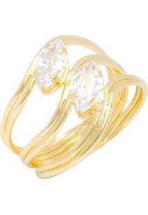 Anel Kumbayá 3 Fios Tipo Onda Banho De Ouro 18K - Feminino-Dourado