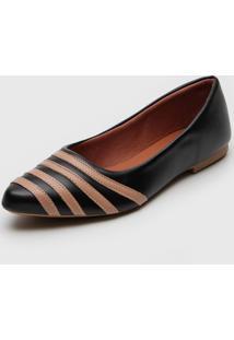 Sapatilha Dafiti Shoes Recortes Preto/Nude