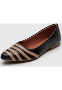 Sapatilha Dafiti Shoes Recortes Preto/ - Preto - Feminino - Dafiti