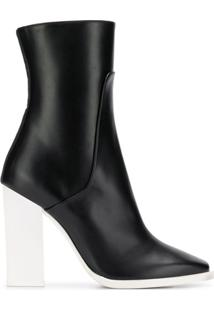Lanvin Contrast Heel Ankle Boots - Preto