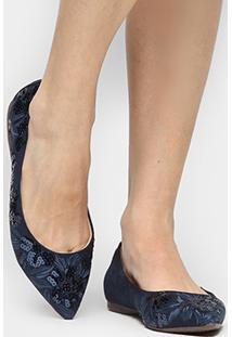 Sapatilha Shoestock Bico Fino Bordado Floral - Feminino-Marinho