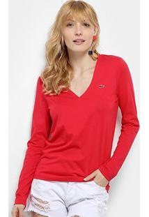 Camiseta Lacoste Manga Longa Gola V Feminina - Feminino-Vermelho
