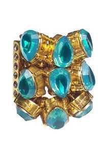 Anel Armazem Rr Bijoux Cristais Swarovski Gota Azul Dourado