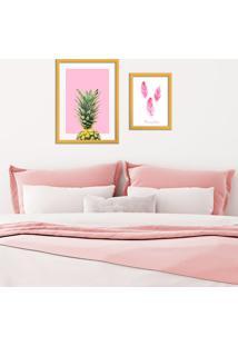 Kit 2 Quadros Com Moldura Dourada Pinneaple Pink