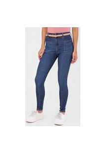 Calça Jeans Malwee Jegging Pespontos Azul