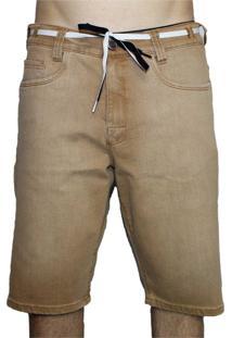 Bermuda Hocks Euston Jeans Marrom Claro