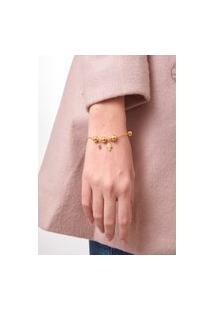 Pulseira Dourada Com Pedra Cristal Carlyle