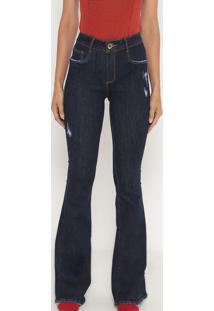 Jeans High Flare Com Puídos- Azul Escuro- Lança Perflança Perfume
