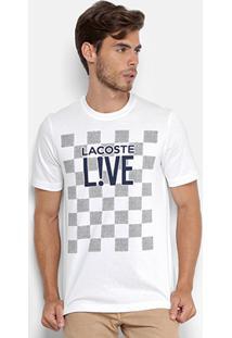 Camiseta Lacoste Live Estampada Masculina - Masculino-Branco