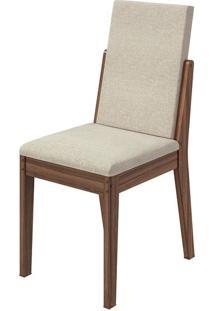 Cadeira Lira Linho Rinzai Bege Imbuia Naturale