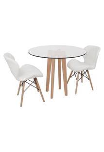 Conjunto Mesa De Jantar Em Vidro 90Cm Com Base Vértice + 2 Cadeiras Slim - Branco