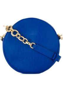 Balmain Bolsa Transversal Disco Mini Com Logo - Azul