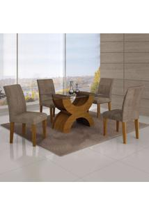 Conjunto Sala De Jantar Mesa Tampo Vidro 120Cm E 4 Cadeiras Olímpia New Leifer Imbuia Mel/Animale