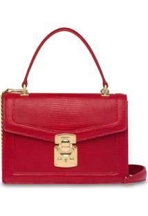 Miu Miu Bolsa 'Miu Confidential' Com Textura De Lagarto - Vermelho